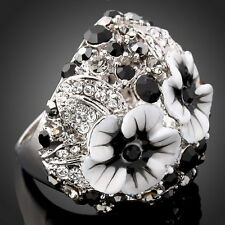 New Alloy Rhinestone Enamel White Platinum Gold Plated Pretty Flower Women Ring