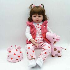 "19"" Vinyl Silicone Handmade Reborn Doll Realistic Big Eyes Dolls Birthday Gift"