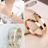 HOT WOMEN MEN SIMPLE TITANIUM STEEL PLAIN CUFF BANGLE BRACELET XMAS GIFT JEWELRY