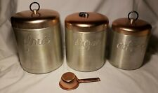 Vintage Mid Century Heller Hostess-Ware Canister Aluminum 3-Piece Set Italy