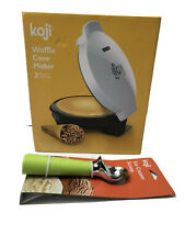 Koji Waffle Cone Maker Griddle White with Cone Shape Roller Free Ice cream Scoop