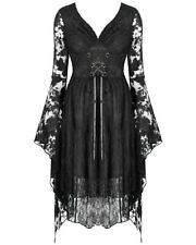 Dark In Love Gothic Witch Lace Dress Black Floral Long Sleeve Mystical Fairy Fae