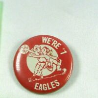 1960s Vintage Pin Back Button Eagles Basketball school red white