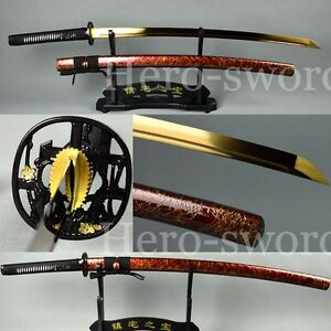 Handmade Muramasa Japanese samurai sword Full Tang Gold Blade Katana Sharpened