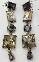 Fashion Brown  Crystal Ancient Gold Long Ear Stud Hoop tassels earrings