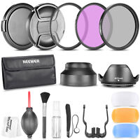 58MM UV CPL FLD Filter Tulip Lens Hood Lens Cap Deluxe Cleaning Kit for DSLR