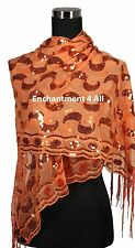 Elegant Lace Paisley Art Scarf Shawl Wrap w/ Sequin & Crochet Fringe, Orange