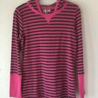 Marc New York Andrew Marc Fuchsia Black Striped Waffle Thermal Knit Shirt Size-L