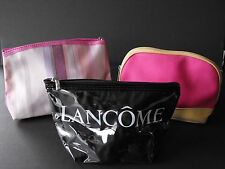 Lot of 3 Lancome Make-up bags Pink Striped Glossy Black