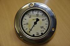 """Manometer m. Blende 100bar 1/4"""" Anschluss hinten Wika"""