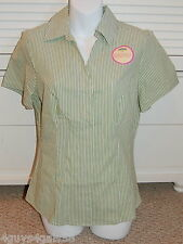 WOMENS SHIRT green white stripe SMALL RIDERS INSTANTLY SLIMS YOU *