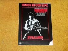 Sylvester Stallone RAMBO First Blood #2 sheet music PEACE IN OUR LIFE '85 5 pp.