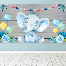 Blue Elephant Boy Baby Shower Decorations Supplies, Large Fabric Cute Baby Eleph