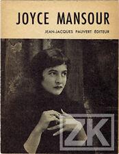JOYCE MANSOUR Poésie Egypte Pauvert Gilles EHRMANN Surréalisme 1958