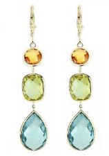14K Yellow Gold Earrings With Citrine, Blue And Lemon Topaz Gemstones