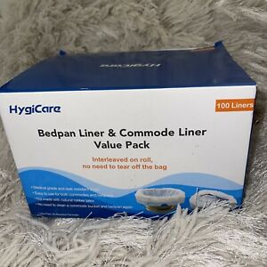 Hygicare Bedpan Commode Liner value pack 100 liners Medical grade Leak Resistant
