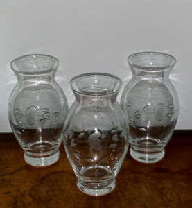 Princess House Crystal Heritage Small Rose Bud Flower Glass Vases Lot Of 3