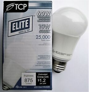 TCP 10W (60W Equal) A19 Dimmable 5000K Bright White LED Light Bulb LED10A19D50K