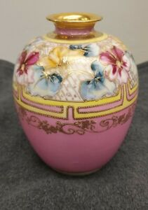 Nippon Vintage Hand Painted Vase Pink with Flower Scene