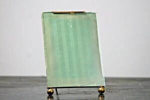 Antique photo frame French gilt metal original green striped backing card #05