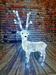 Outdoor Christmas Decorations Reindeer 3D 100 ICE White LED Lights 85cm Acrylic