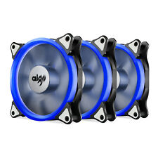 Pack of 3 Aigo 120mm 12cm Halo Ring Neon BLUE LED Computer PC Case Cooling Fan
