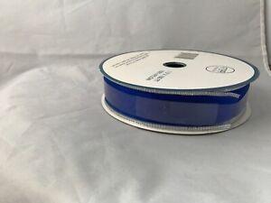 "Wire Edge Approx. 100 Feet Royal Blue Silver Edge 1.5"" Ribbon 100% Nylon"