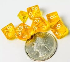 Polyhedral 7 Piece Dice Set Transparent Small 10mm Mini Die Yellow And White