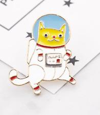Cat Pin Badge Brooch Enamel Ginger Space White Gift Jewellery Ladies Funny Cute