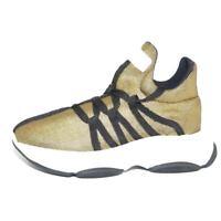 Scarpe donna sneakers bassa in tessuto calzino lycra oro made in italy lacci ner