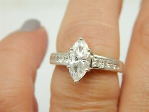 MARQUISE 2 CARAT DIAMONIQUE DQ CZ ENGAGEMENT STERLING SILVER RING SIZE: 7.75