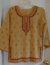 VINTAGE ETHNIC TUNIC TOP~Embroidered Indian India Hippie 70's Blouse Tunic BoHo