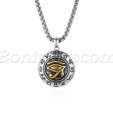 "Men's Vintage Stainless Steel Eygptian Eye of Horus Pendant Necklace 22"" Chain"