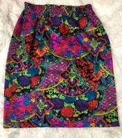 Diane Freis Vintage Skirt Size S/M Stretch Waist 100% Silk Hippie Style Floral
