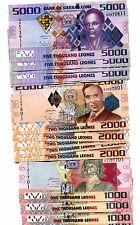 SIERRA LEONE 1000 2000 5000 LEONES 2010-2013 P-30-32 UNC 5 SETS OF 3 TOTAL 15 PC