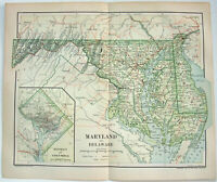 Original 1895 Map of Maryland & Delaware by Dodd Mead & Company. Antique