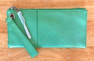 NWT Women's Hobo International Leather Wristlet Clutch Purse, Vida, Mint