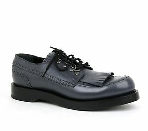 $990 New Gucci Mens Leather Fringed Brogue Lace-Up Shoes Bluish Gray 358271 1107