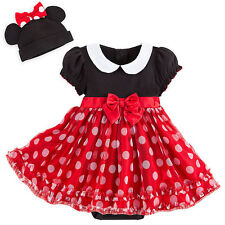 Disney Store  Minnie Mouse Baby Costume & Hat with Ears and Bow Red 6 9 months
