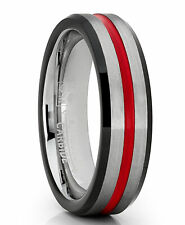Tungsten Wedding Band Grooved Ring 6mm for Men's Black and Red