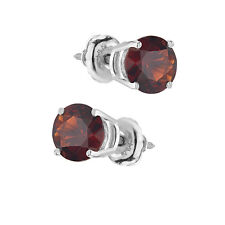 Garnet Earrings Stud 14k White Gold 2ct  Solitaire Basket Screwback Gift Jewelry