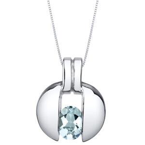 Aquamarine Sterling Silver Starship Pendant Necklace 0.75 Carats
