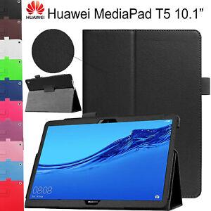 Custodia Per Huawei Mediapad T5 10.1 2018 Pelle Sottile Libro Stand Smart Cover