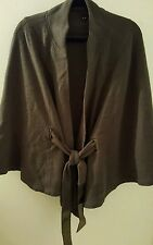 A V A Green Wool Women's Short  Belted Cape