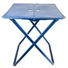 Vintage Midcentury Foldable Portable Metal Side Snack TV Table Painted Blue!