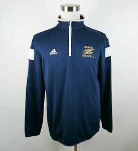 Akron Zips Mens Polyester Clima Lite LS 1/4 Zip Navy Blue Pullover Shirt Medium