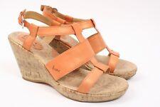 B.O.C BORN T Strap Orange Leather Ankle Strap Platform Wedge Sandal Shoe Women 8