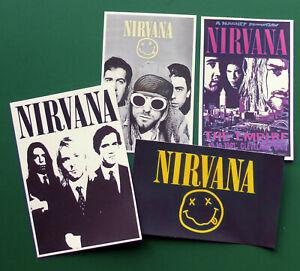 NIRVANA, Set of 4 Glossy Vinyl Promo Stickers, (Logo, Concert Flyer +)