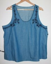 NWT GAP Embroidered Chambray Top Size XXL Size 18-20