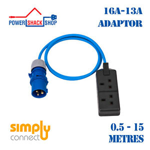 SC, ADAPTOR, 16 Amp Plug to 13 Amp Double Socket, Outdoor Cable, 0.5 -15 Meters